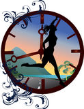 Clock and running girl illustration Royalty Free Stock Image