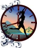 Clock and running girl illustration Royalty Free Stock Image