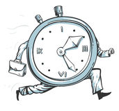 Clock running out of time. Vector illustration of a clock character running of time Stock Photography
