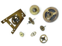 Clock's cog-wheels. The clock cog-wheels. Objects over white Stock Photos