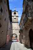 The clock's street from Ponferrada Royalty Free Stock Photo