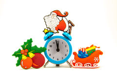 Clock, santa claus, sleigh, Christmas balls stock images