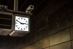 The clock on scoreboard in subway of Hamburg, Germany.  Stock Photos