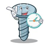 With clock screw character cartoon style. Vector illustration Royalty Free Stock Photos
