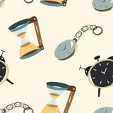 Clock seamless. Vintage clock, sand clock, alarm Royalty Free Stock Images