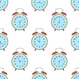 Clock seamless pattern. Endless watch background. Timer design backdrop. Time measurement illustration. Flat graphic Stock Photo