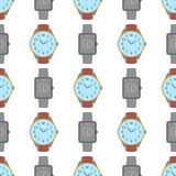 Clock seamless pattern. Endless watch background. Timer design backdrop. Time measurement illustration. Flat graphic Royalty Free Stock Photo