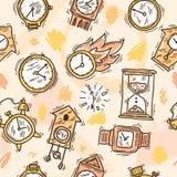 Clock Seamless Pattern Stock Photos