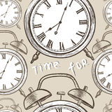 Clock seamless pattern. Time for happyness. Vintage watches back Stock Photo