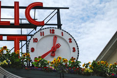 Clock at Seattle Pike Place Market. Close-up of clock on Seattle Public Market sign Royalty Free Stock Photos
