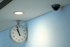 Clock and security camera Royalty Free Stock Photo