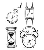 Clock set. Icon Set, a lot of black watches on white background Stock Photography