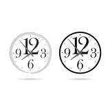 Clock set cartoon ticking illustration on white. Background Stock Images