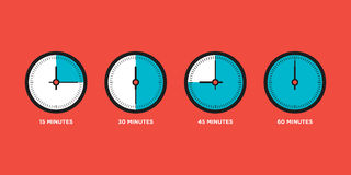 Clock. Set of time in one hour flat design vector illustration. Clock. Set of time in one hour,quarter, flat design vector illustration Stock Photography