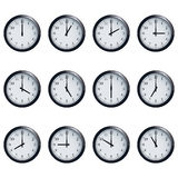 Clock set timed at each hour on white background Stock Images