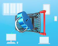 Clock shape lock on shopping cart, internet connecting security Stock Images