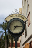 Clock from shopping area on Back Street in Philipsburg Stock Images