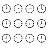 Clock that show every hour vector illustration on white vector set Royalty Free Stock Image