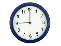 Clock showing 9 o'clock Royalty Free Stock Photo