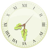 Clock showing earth hour. Arrows in the form of a tree Stock Images