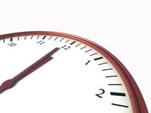 Clock showing minute to twelve. On white isolated vector illustration