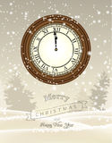 Clock showing one minute to twelve, new year Royalty Free Stock Photo