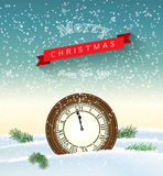 Clock showing one minute to twelve, new year greeting card, illustration Royalty Free Stock Image