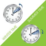 Clock showing summer and winter time. Vector illustration Stock Images