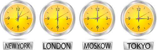 Clock showing the time Stock Photos