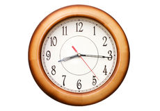 Clock showing time about nine isolated Stock Image