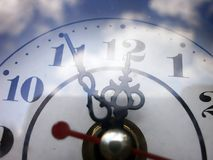Five minutes to twelve,clocks. The clock shows five minutes to twelve, the last is moment to do you do something in life profitably Stock Photos