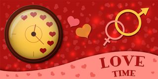 The clock shows the time to love. Symbol of man and woman. Vector illustration. stock illustration