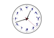 Images kinds of sports on the clock dial royalty free illustration