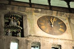 Old clock from tower. Clock from Sighisoara tower. Night scene Stock Images