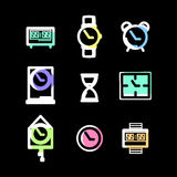Clock sign and symbol vector set Royalty Free Stock Photography
