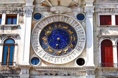 Clock with signs of the zodiac. In venezia. St. Marc square stock image