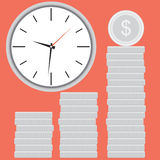 Clock with silver coin stock. Time is money. Time finance money and stock coin investment, financial banking market. Vector flat design illustration Stock Photos