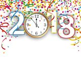 Clock 2018 Silvester Confetti Ribbons. Colored confetti with ribbons, clock and date 2018 on the white Royalty Free Stock Image
