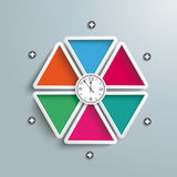 Clock Six Colored Triangles Infographic. Six colored triangles with clock on the gray background Stock Photos