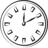 Clock sketch. Black on white background Royalty Free Stock Photography
