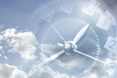 Clock in sky. Clock face in blue sky. Time passing Royalty Free Stock Photo