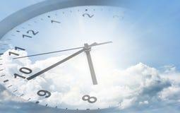 Clock in sky Royalty Free Stock Photos