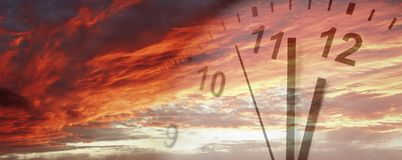 Clock in sky. Clock face in bright sky. Time passing Royalty Free Stock Photos
