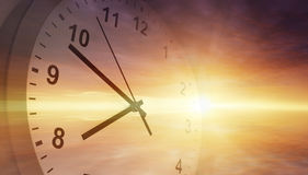 Clock in sky. Clock face in bright sky. Time passing Royalty Free Stock Photography