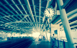 Clock at the sky-train station,vintage tone royalty free stock photos