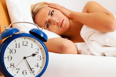 Clock with sleepless at night. stock photography