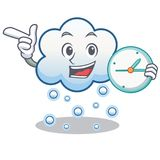 With clock snow cloud character cartoon Stock Photography