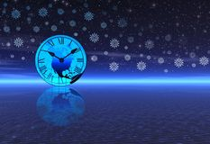 Clock and snowflakes Royalty Free Stock Images