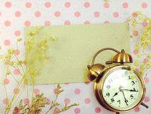 Clock with space backgroun with dried flower decorate Stock Images