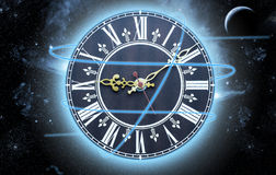 Clock in the space Royalty Free Stock Photography
